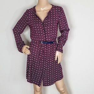 CASUAL BELTED PRINT DRESS SIZE XS